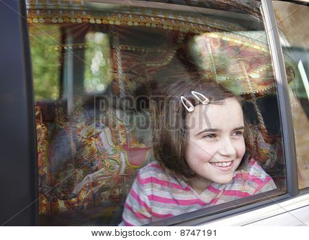 Girl And Car Window