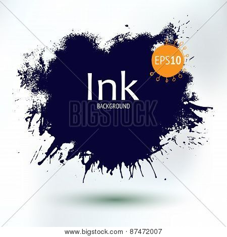 Abstract Ink Blob, Hand Drawing Art