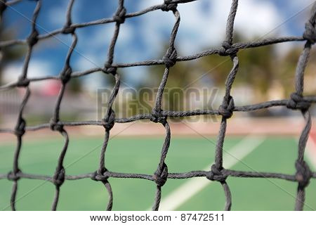 Tennis Net, Outdoor At Empty Court