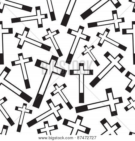 Black And White Religion Cross Seamless Pattern Eps10