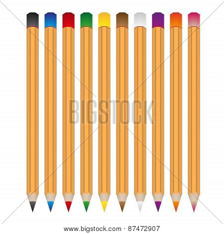 Set Of Various Color Wooden Vector Crayons Eps10