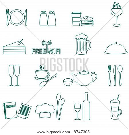 Restaurant And Pub Outline Icons Set Eps10