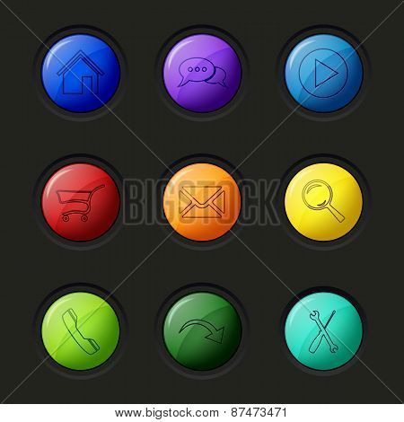 Web Colored Round Buttons Surface Design Template