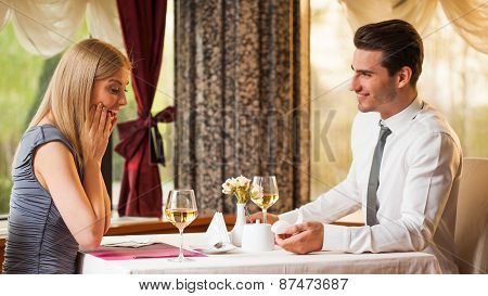 Marriage proposal at restaurant