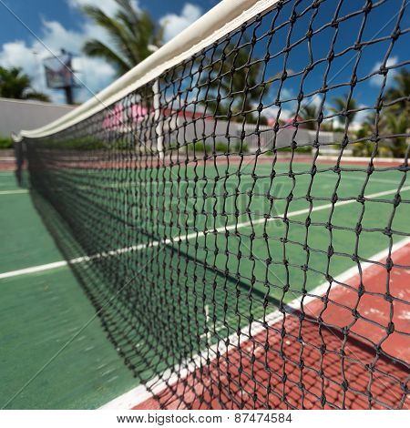 Outdoor Tennis Net At Court With Nobody