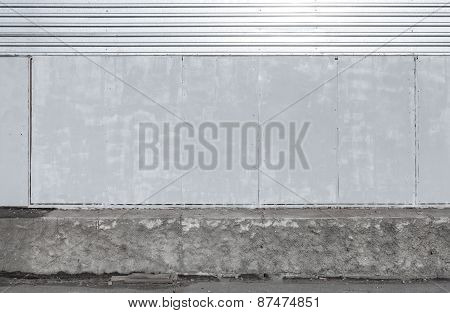 Background Interior With Shining Metal Panels On The Wall