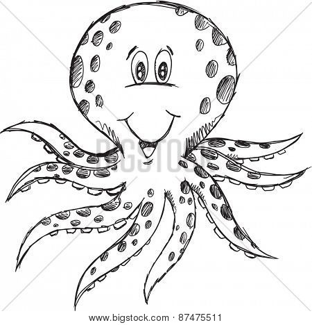 Doodle Sketch Octopus Vector Illustration Art