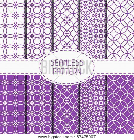 Set of purple geometric seamless pattern with circle, round. Collection of wrapping paper. Paper for