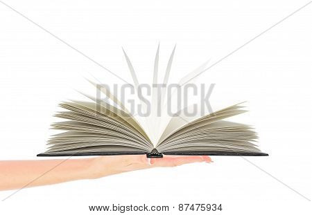 Woman Hand Holding Opened Book Isolated On White
