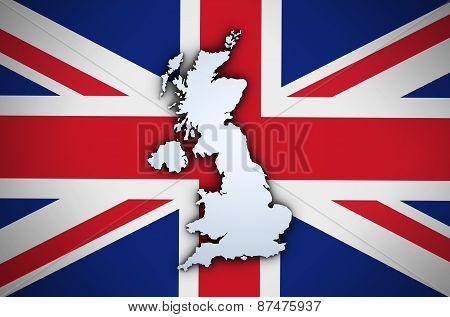 Uk Map On British Union Jack Flag