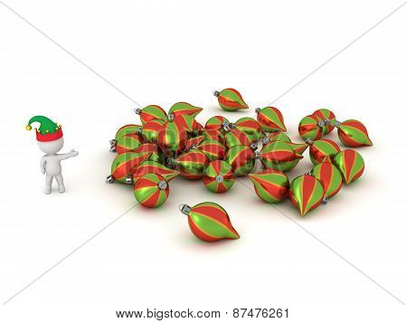 3D Character with Elf Hat Showing Pile of Colorful Globes
