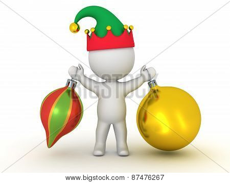3D Character with Elf Hat Holding Two Colorful Globes