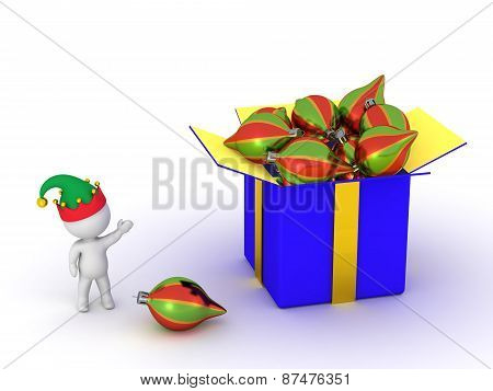 3D Character Showing Gift Box with Colorful Globes