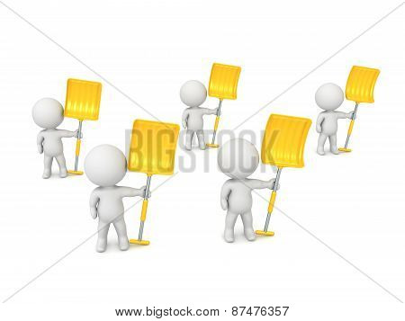 Several 3D Characters with Snow Shovels