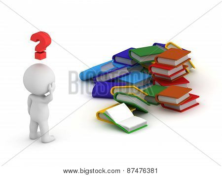 3D Character Question Symbol and Books