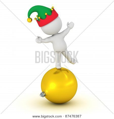 3D Character with elf hat standing on globe