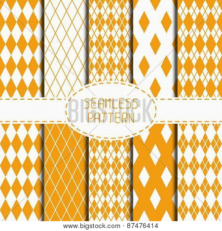 Set of geometric yellow orange seamless pattern with rhombus, square. Collection of wrapping paper.
