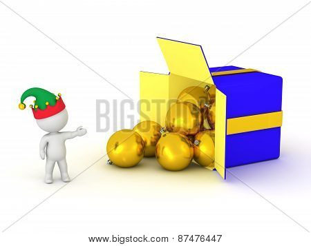 3D Character with Elf Hat showing Box with Globes