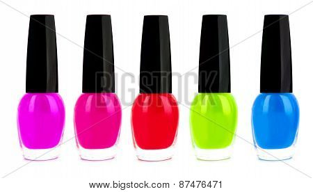 Bright Nail Polishes Isolated On White