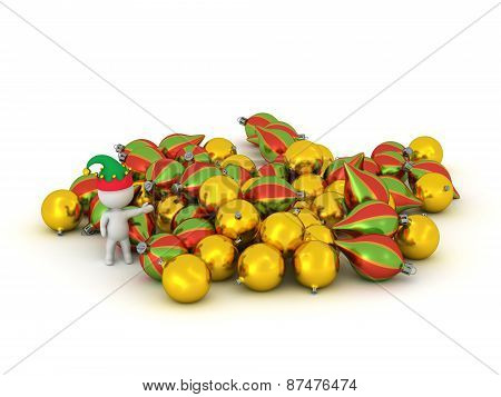 3D Character with Elf Hat Showing Pile of Different Colorful Globes