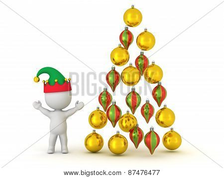3D Character with Elf Hat and Globes arranged as Christmas Tree