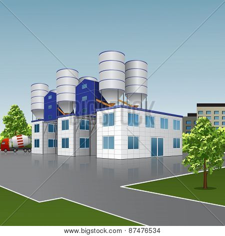 Factory Building For The Production Of Concrete With A Reflection