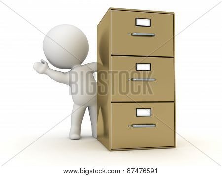 3D Character Waving from Behind Archiving Cabinet