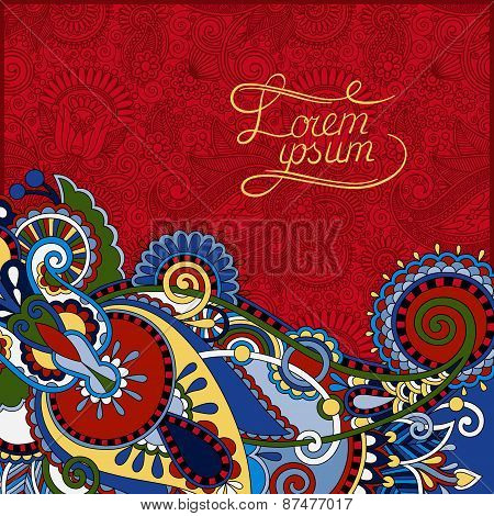 red paisley design on decorative floral background for invitatio