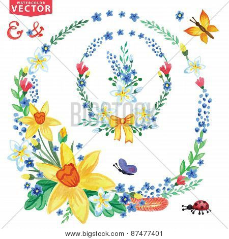 Watercolor Spring flowers wreath