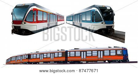 Set of three modern train on white background