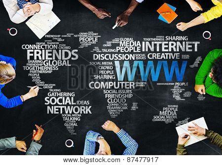 Group of People Blackboard Internet Concept