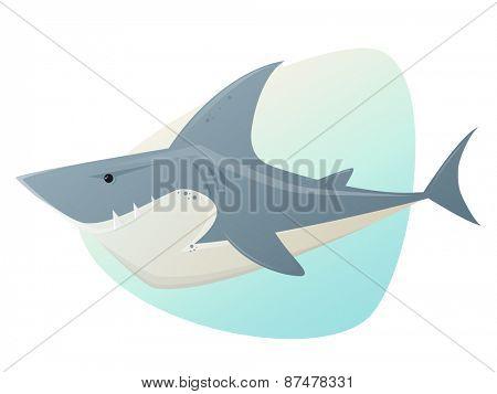 big white shark illustration