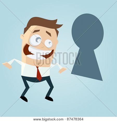 funny business man looking through keyhole