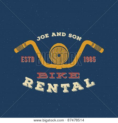 Retro Vector Bike Rental Label or Logo Design