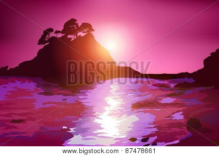 Coast with island at sunset purple colors