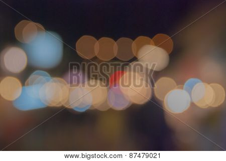 Bokeh And Blur From Light At Night Walking Street