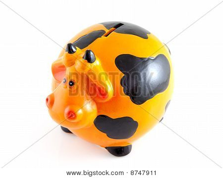 Piggy Bank In The Shape Of Orange Cow