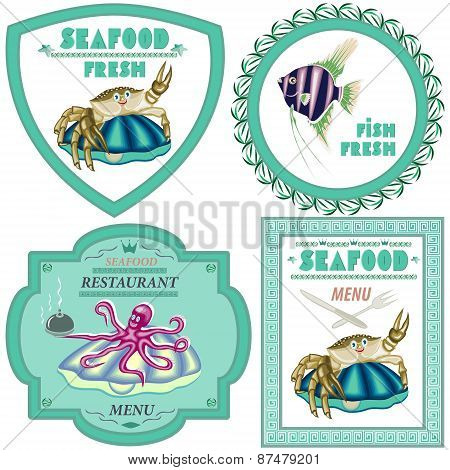 Seafood,a Set Of Four Illustrations.