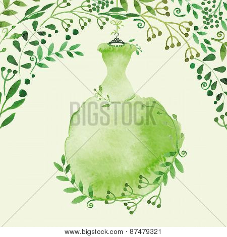 Watercolor Spring background.Green Dress and branches