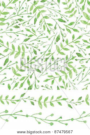 Watercolor seamless pattern,borders.Vintage Green branches
