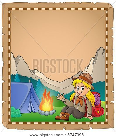 Parchment with scout girl in mountain - eps10 vector illustration.