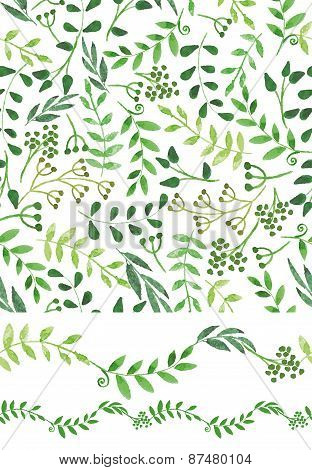 Watercolor seamless pattern and border.Vintage Green branches