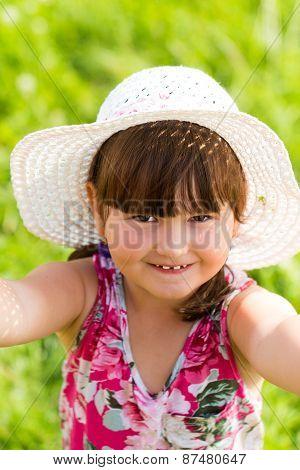 Little Cutie Having Fun In Summer Nature