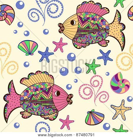 Seamless Pattern With Cartoon Sea Creatures.