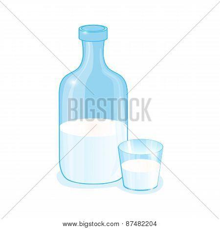 Traditional glass milk bottle
