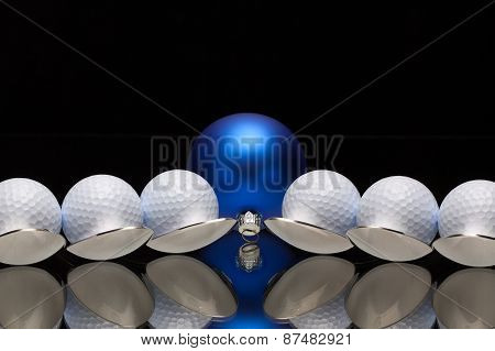 Blue Christmas Decoration,six Spoons And Golf Balls
