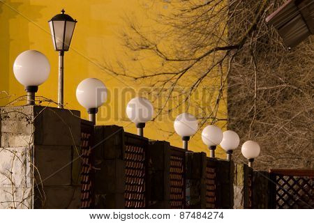 Number Of Street Lights On The Fence In Evening