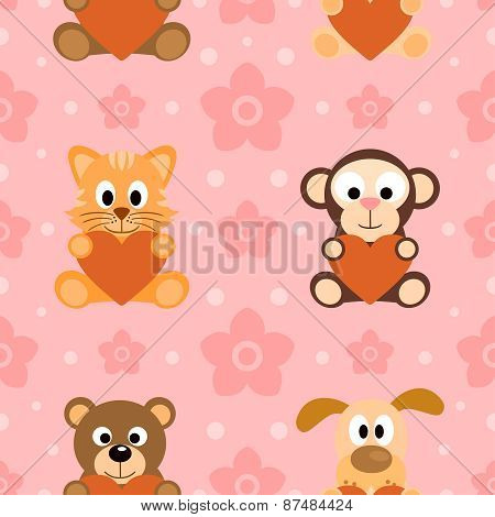 Seamless background card with animals