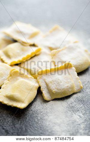 ravioli pasta on kitchen table
