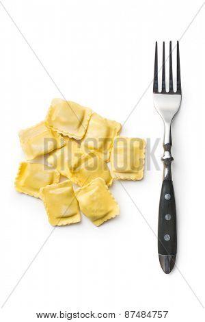 ravioli pasta on white background